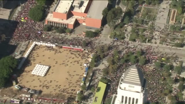 KTLA Aerial View of Women's March in Downtown Los Angeles