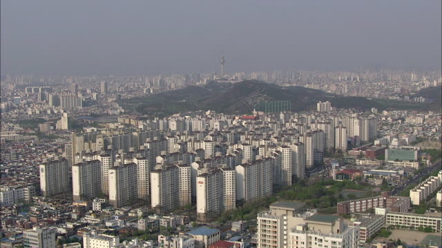 aerial view of woobang tower and cityscape - daegu stock videos and b-roll footage
