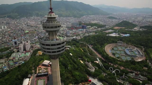 aerial view of woobang tower in daegu - daegu stock videos and b-roll footage