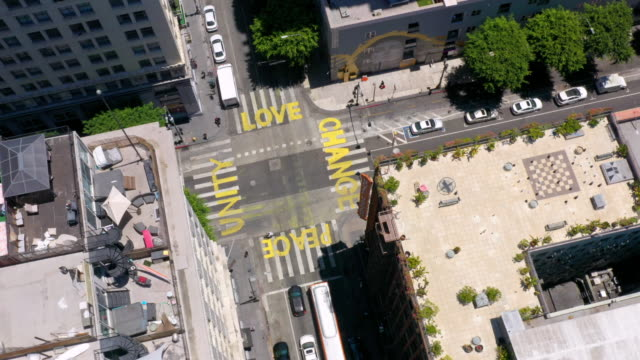 aerial view of words painted on city street during george floyd protests - protest stock videos & royalty-free footage