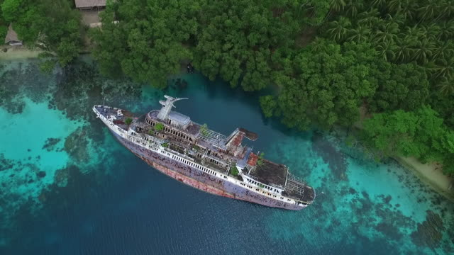 Aerial view of World Discoverer shipwreck