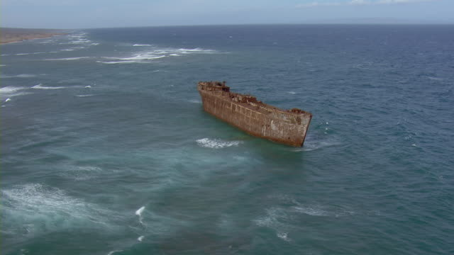 Aerial view of World War II shipwreck off the coast of Lanai Island in Hawaii.