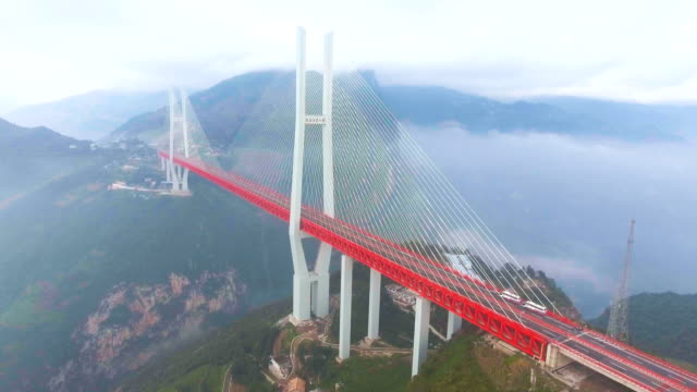 aerial view of world's highest suspension bridge, beipanjiang, ghuizhou, china - suspension bridge stock videos & royalty-free footage