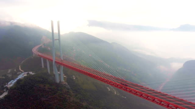 aerial view of world's highest suspension bridge, beipanjiang, ghuizhou, china - canyon stock videos & royalty-free footage