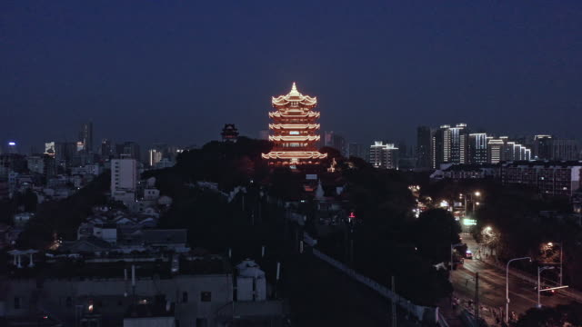 aerial view of wuhan skyline at night - river han stock videos & royalty-free footage