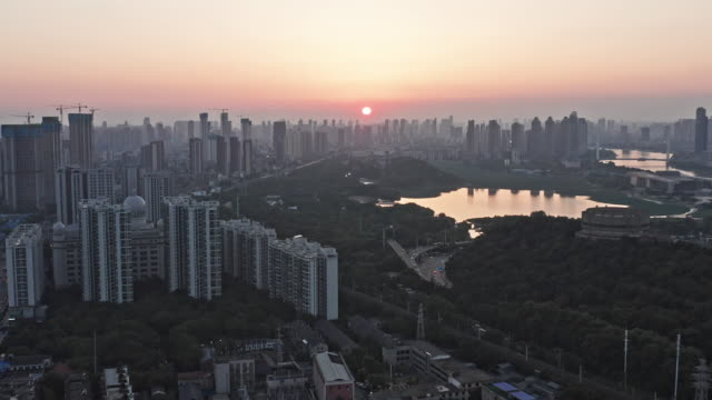 aerial view of wuhan skyline - river han stock videos & royalty-free footage