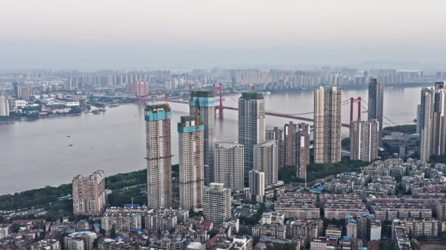 aerial view of wuhan skyline - chinese culture点の映像素材/bロール