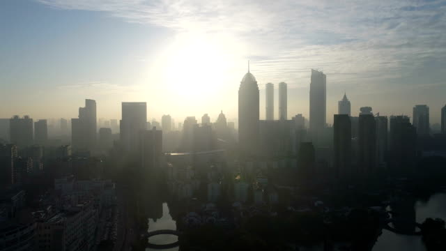 aerial view of wuxi canal park in the morning - tilt up stock videos & royalty-free footage
