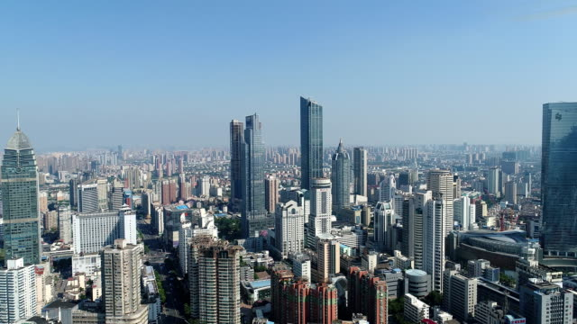 aerial view of wuxi center - horizon stock videos & royalty-free footage
