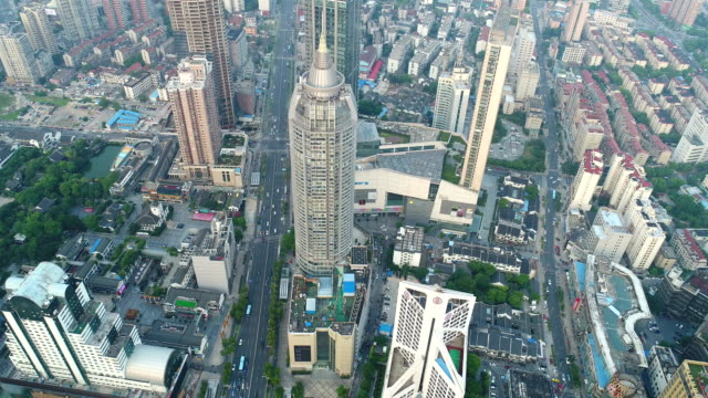 aerial view of wuxi central building - wuxi stock videos and b-roll footage