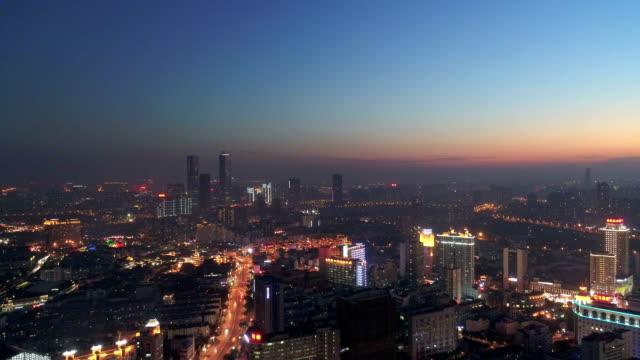 aerial view of wuxi central night scene - wuxi stock videos and b-roll footage