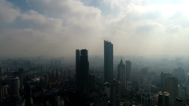 aerial view of wuxi city center - かすみ点の映像素材/bロール