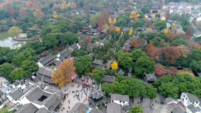 Aerial view of wuxi city huishan ancient town autumn color
