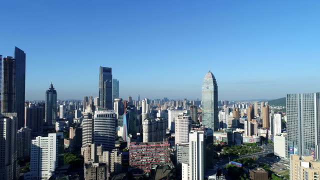 Aerial view of wuxi city in the early morning