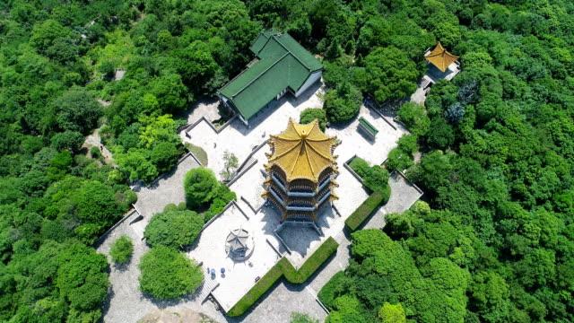 aerial view of wuxi luding mountain - 寶塔 個影片檔及 b 捲影像