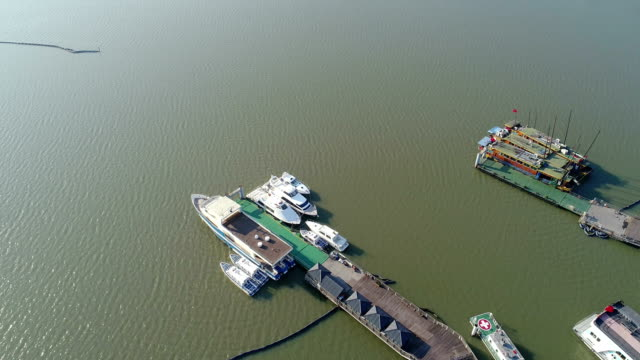 aerial view of wuxi taihu scenic area - wuxi stock videos and b-roll footage