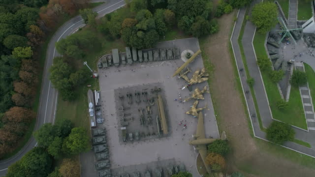 aerial view of wwii memorial complex territory - ukraine stock videos and b-roll footage