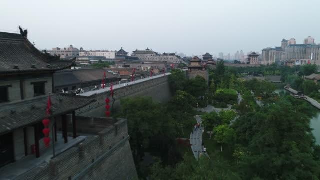 aerial view of xi'an cityscape - surrounding wall stock videos & royalty-free footage