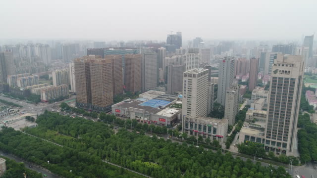 Aerial View of Xi'an in Smog