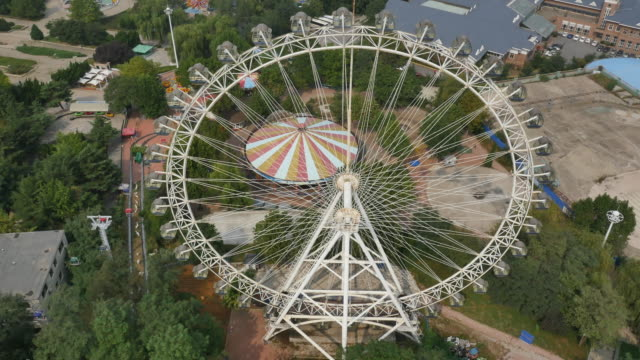aerial view of xinghai park (amusement park in dalian) - manchuria region stock videos & royalty-free footage