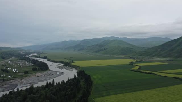 aerial view of xinjiang plain - plain stock videos & royalty-free footage