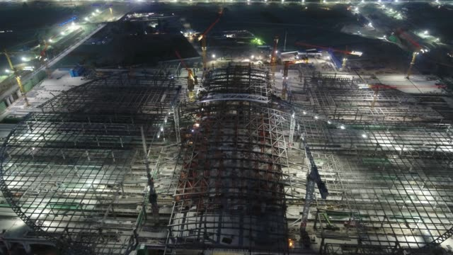 aerial view of xiong'an railway station of beijing-xiong'an intercity railway under construction on may 20, 2020 in xiong'an, hebei province of... - rail transportation stock videos & royalty-free footage