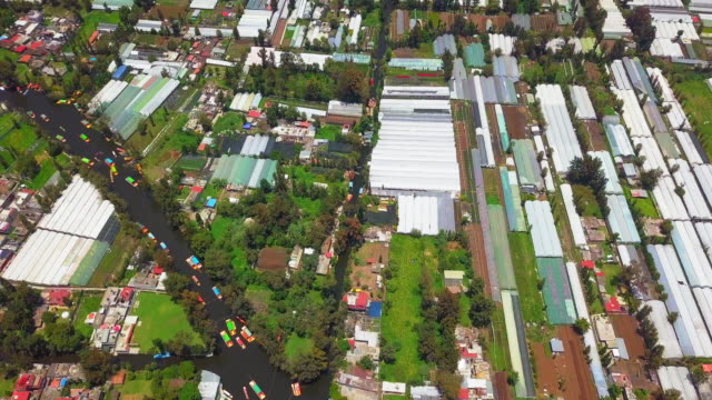 aerial view of xochimilco canals landscape in to mexico city - aztec stock videos & royalty-free footage