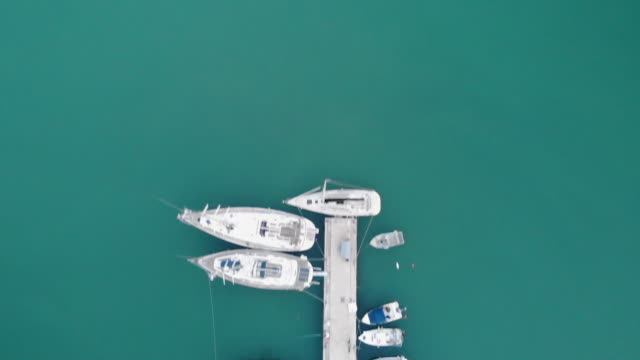 aerial view of yacht and sailboat parking - yacht stock videos & royalty-free footage