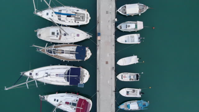 Aerial view of yachts moored at a marina