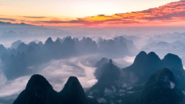 aerial view of yangshuo - time lapse - coprire video stock e b–roll