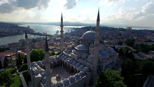 aerial view of yeni cami mosque in istanbul, turkey - yeni cami mosque stock videos and b-roll footage
