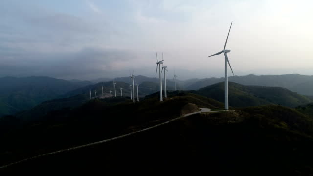 aerial view of yeongdeok wind farm (popular location in korea) - windmill stock videos & royalty-free footage