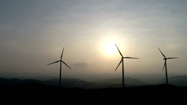 aerial view of yeongdeok wind farm (popular location in korea) - three objects stock videos & royalty-free footage