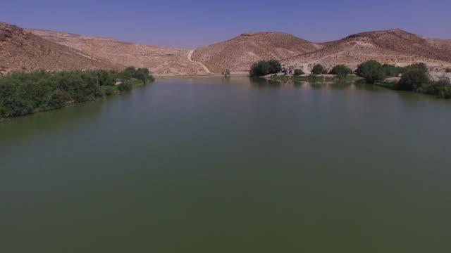 aerial view of yeruham lake, in the negev desert, israel. - negev stock videos & royalty-free footage