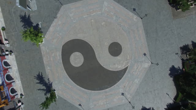 aerial view of yin and yang sign pattern in tao's temple - contrasts stock videos and b-roll footage