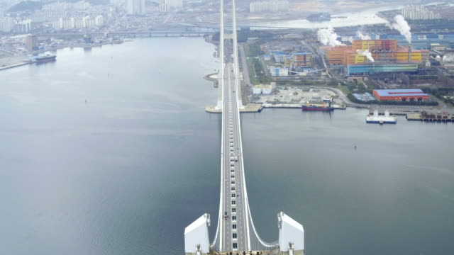 Aerial view of Yi-Sunsin Bridge (The Bridge between Yeosu and Gwangyang)