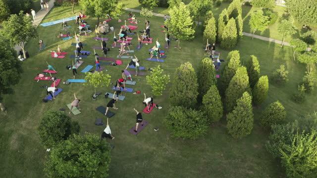 公共公園でのヨガの練習の空中写真 - large group of people点の映像素材/bロール