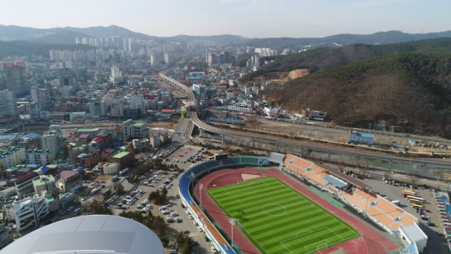 Aerial View of Yongin Sports Complex and cityscape in Cheoingu, Yongin at daytime