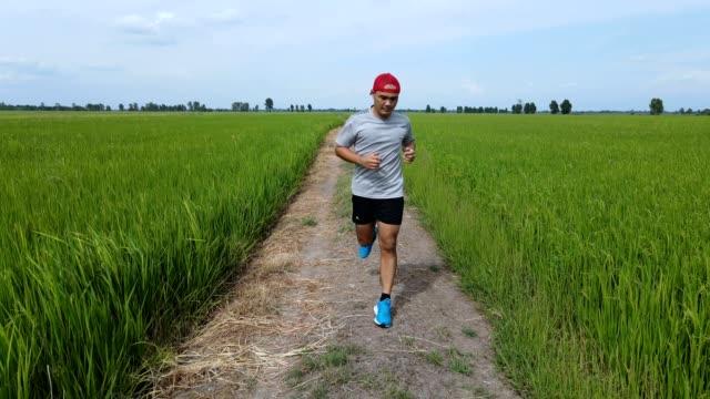 stockvideo's en b-roll-footage met luchtmening van jonge aziatische sportenmens die loopt - gymbroek