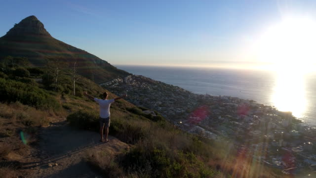 aerial view of young man embracing nature - guardare il paesaggio video stock e b–roll