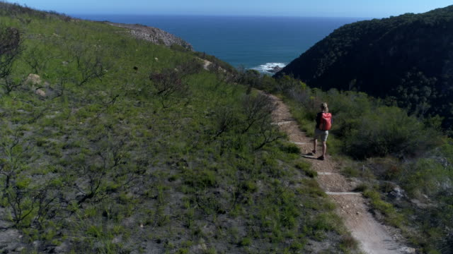 Aerial view of young woman hiking in the valley by the sea, South Africa