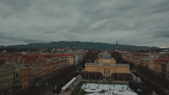 aerial view of zagreb, king tomislav square during the christmas. drone shot in zagreb, croatia during the winter time - zagreb stock videos & royalty-free footage