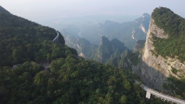 Aerial view of Zhangjiajie National Forest Park and main roads to Tianmen Mountain