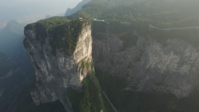 aerial view of zhangjiajie national forest park and tianmen mountain - 巨礫点の映像素材/bロール