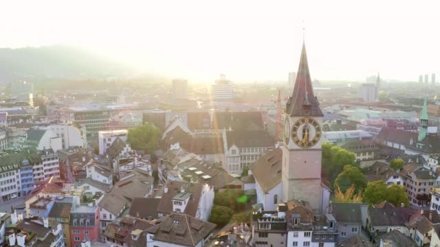 aerial view of zurich cityscape in switzerland - switzerland stock videos & royalty-free footage