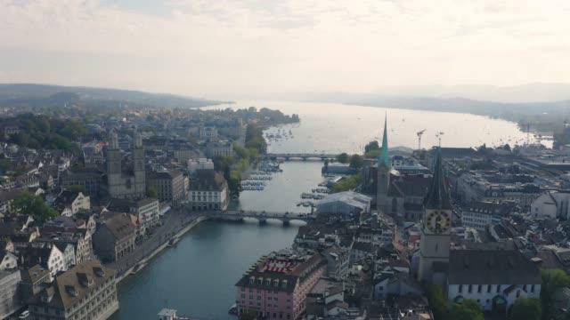 スイスのチューリッヒの街並みの上空からの眺め - switzerland点の映像素材/bロール