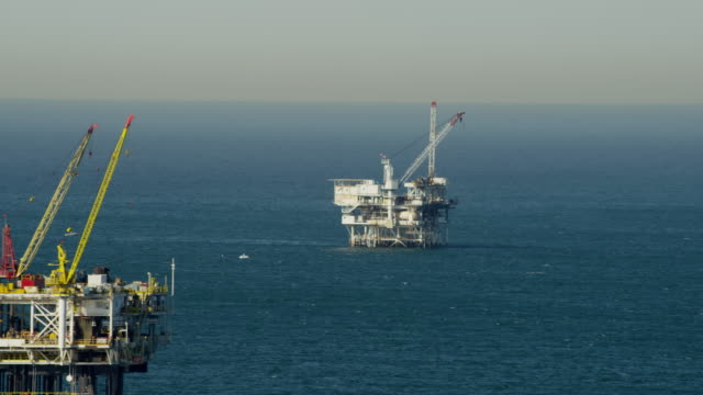 Aerial view offshore platform oil drilling Pacific Ocean