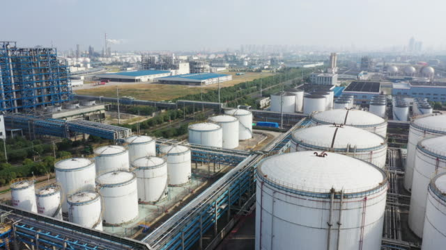aerial view oil factory - storage tank stock videos & royalty-free footage