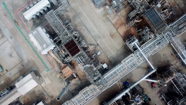 Aerial view oil tanks in a refinery