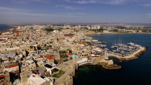 aerial view- old city of acre -unesco world heritage centre, in western galilee, israel - akko stock videos and b-roll footage